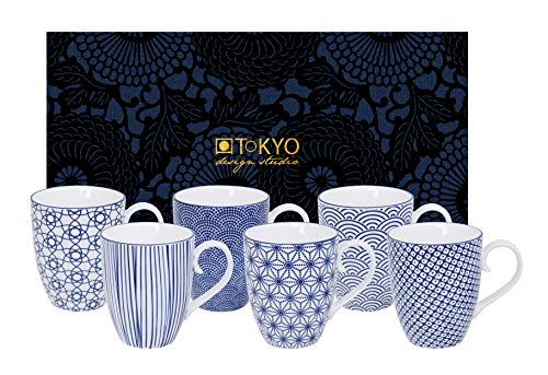 TOKYO design studio Nippon Blue, 6 Tassen Set in dekorativer Geschenkbox, Porzellan Geschirr, 380ml