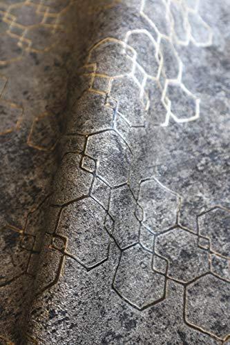 NEWROOM Tapete Schwarz Vliestapete Leicht Glänzend - Mustertapete Modern Gold Grau Hexagon Sechsecke Metalic Grafisch Industrial inkl. Tapezier-Ratgeber
