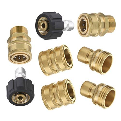 M MINGLE Ultimate Hochdruckreiniger-Adapter-Set, Schnelltrenn-Set, M22 schwenkbar auf 3/8 Zoll Schnellanschluss, 1,9 cm auf Schnellspanner, 8er-Pack, MEHRWEG