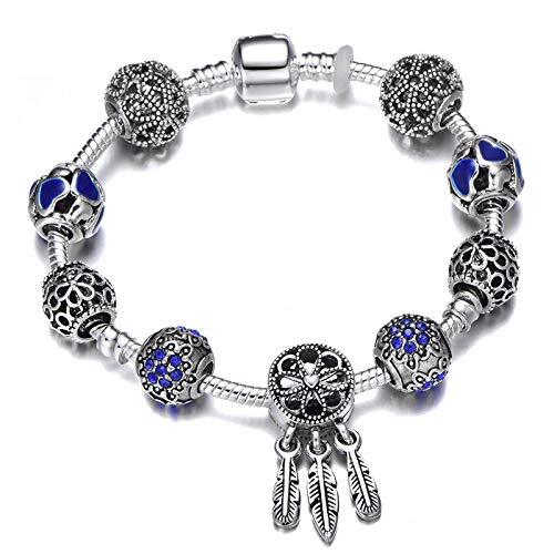 Blue Heart-Shaped Beads Charm Bracelet Women Tassel Charm Bracelet Jewelry Pulseras Mujer 1 18cm