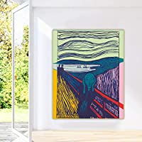 キャンバスプリントアンディウォーホル《 The Scream.1984》ポップアートキャンバス油絵アートポスター装飾プリントピクチャーウォールホームデコレーション40x60cmフレームレス
