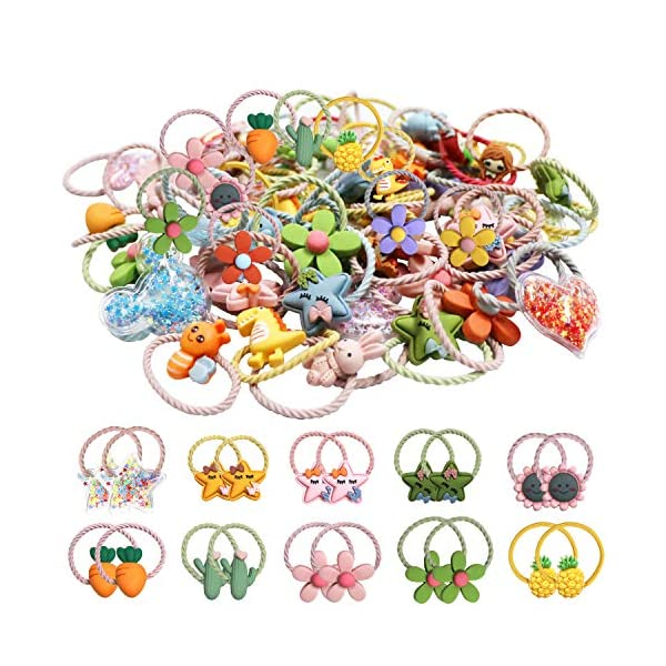 WillingTee 60pieces/30pairs Baby Girls Cute Pattern Baby Bows Hair Ties Elastic Hair Bands Ponytail Holders Hair Accessories for Baby Girls Infant Toddlers Kids Children