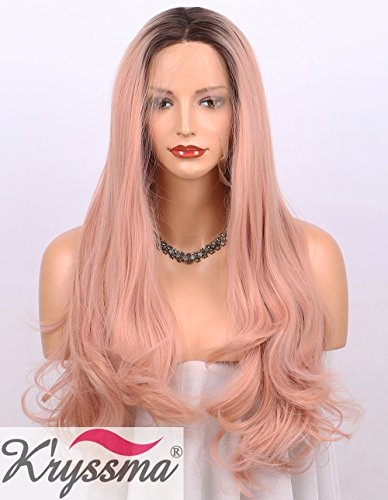 K'ryssma Baby Pink Ombre Lace Front Wigs for Women Dark Roots Long Wavy...