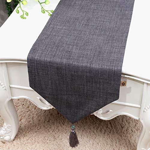 HUIYUAN Bordsflagga rund bordsduk bord soffbord gardiner bordsunderlägg bomull och linne (färg: Grå, storlek: 33 x 150 cm)
