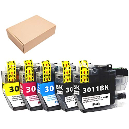 JoyPrinting Compatible Brother LC3011 LC-3011 3011 Ink Cartridges for Brother MFC-J491DW MFC-J497DW MFC-J690DW MFC-J895DW Printer, 5-Pack (2 Black, 1 Cyan, 1 Magenta, 1 Yellow)