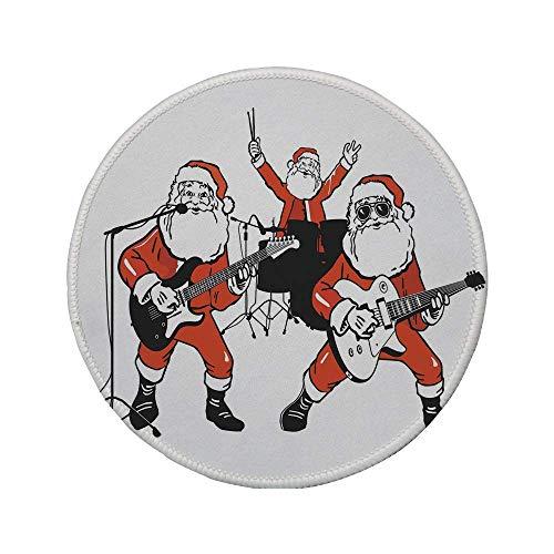 Rutschfreies Gummi-rundes Mauspad lustig Santa Claus Rockband Schlagzeug spielen Gitarre Weihnachtsmann Show Print Dekorativ Orange Anthrazit 7,87 'x 7,87' x3MM