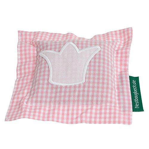 Nestbauglück - Kirschkernkissen rosa, Krone rosa. Bezug kariert