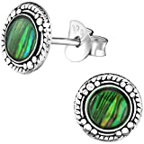 EYS JEWELRY runde Damen Ohrstecker 925 Sterling Silber oxidiert Abalone Paua Muschel grün 8 mm Damen-Ohrringe im Geschenketui