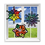 VHALE Suncatcher Kit for Kids, 3 Sets of Stained Glass Effect Paper Suncatchers (9 Cutouts, 27 Tissue Papers), Window Art, Classroom Arts and Crafts, Great Travel Toys, Party Favors (Snowflake)