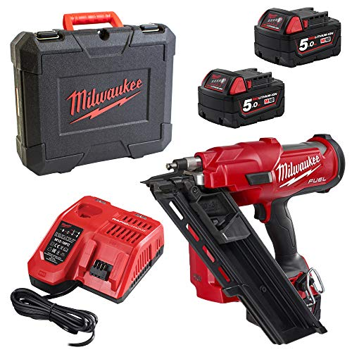 Milwaukee M18FFN-502C Cordless Nailer with 2 x 5.0 Ah Batteries in Tool Case