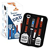Dad BBQ Grill Set with Carry Case - 4-Piece Includes Spatula, Tongs, Digital Thermometer, Basting...