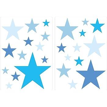 Dekodino Wandtattoo Kinderzimmer Wandsticker Set Blaue Sterne Fur Jungen Zum Kleben Wand Amazon De Baumarkt