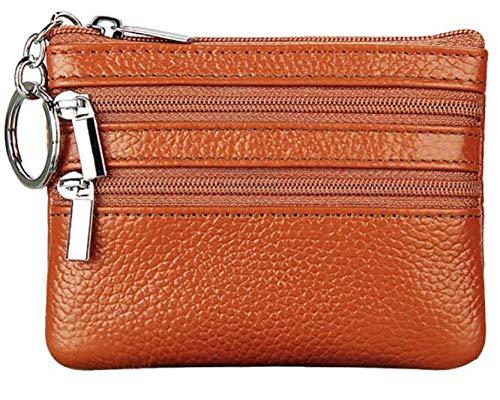 UMBRANDED Mini-portemonnee, echt leer, kleine portemonnee, Mini-portemonnee met sleutelhanger, kleine Cadeaus, adventskalender, vullen, inhoud voor vrouwen, meisjes, mannen en vrouwen Orange
