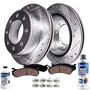 Detroit Axle - Rear Drilled and Slotted Disc Brake Kit Rotors w/Ceramic Pads w/Hardware & Brake Kit Cleaner & Fluid for 2008-2012 Ford F-250/2009 2010 2011 2012 F-350 Super Duty SINGLE REAR WHEEL