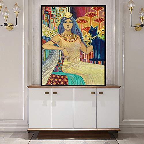 Kamer decoratie schilderij Bast Egyptische kat godin Art Deco poster print heidense mythologie psychedelische zigeuner godin kunst / 50x70cm geen frame