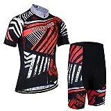 X-Labor - Juego de maillot de ciclismo para hombre, talla grande, manga corta y pantalón con acolchado 3D, color rojo, talla 4XL