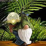 Gartenzwerg, Gartenfigur aus Harz, Gartendeko Figuren mit LED Solar Kristallkugel, Mikrolandschaft Garten, Garten GNOME Statue Solar Leuchte, für Terrasse, Vorgarten, Garten (Gnomen)