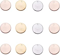 PandaHall Elite 60 Pcs 304 Stainless Steel Flat Round Blank Stamping Tag Pendants Charms Diameter 15mm for Jewelry Making 3 Colors