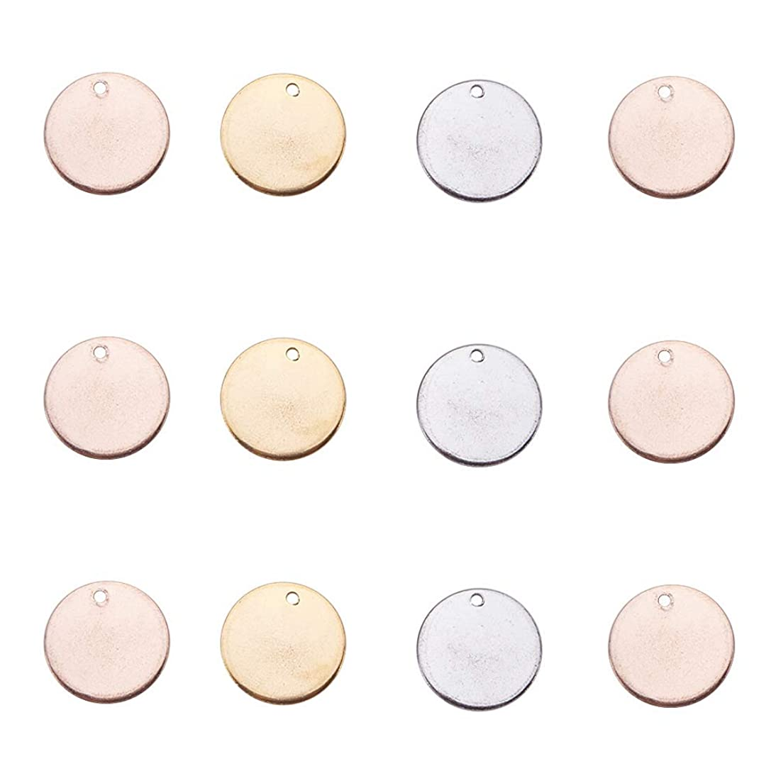 PandaHall Elite 60 Pcs 304 Stainless Steel Flat Round Blank Stamping Tag Pendants Charms Diameter 15mm Jewelry Making 3 Colors