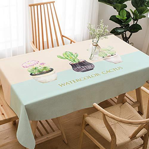 YCZZ Mantel, Mantel nórdico de algodón y Lino de Plantas Verdes, Mantel Rectangular para Sala de Estar, Mantel 100 * 140cm Cactus Manteles