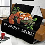 zblin Red Panda Spirit Animal Boutique Blankets Soft Comfortable Plush Microfiber Flannel Blanket 60x50inch