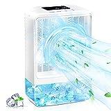 Aire Acondicionado Portatil Air Cooler Ventilador Silencioso, Kedoxi Ventilador Aire Frio con Batería, Aire Acondicionado Ventilador con Función de Humidificación para el Hogar y la Oficina Blanco