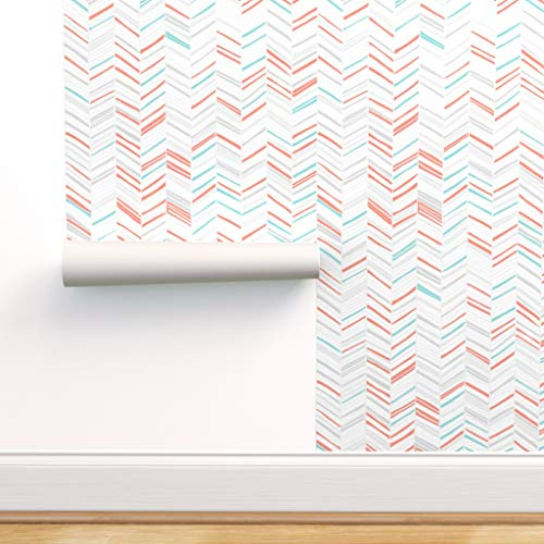 Spoonflower Peel and Stick Removable Wallpaper, Herringbone Modern Geometric Chevron Nursery Decor Print, Self-Adhesive Wallpaper 24in x 108in Roll
