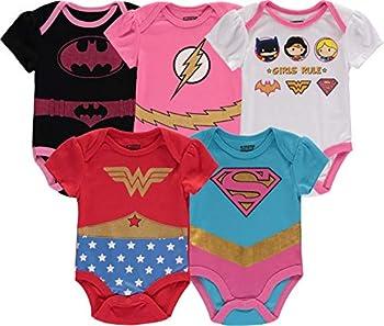 DC Comics Baby Girls Newborn 5 Pack Short Sleeve Bodysuit Wonder Woman Superman Flash Batgirl Girls Rule 3-6 Months