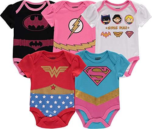 DC Comics Baby Girls Newborn 5 Pack Short Sleeve Bodysuit Wonder Woman Superman Flash Batgirl Girls Rule Onesie (18 Months)