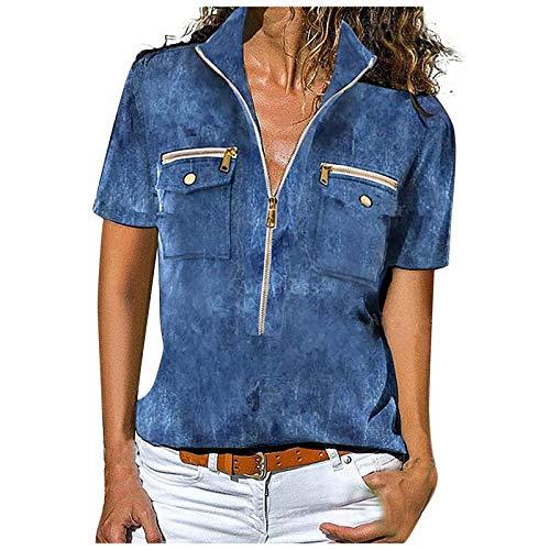 Jeans Look Mode Reißverschluss Oberteile Damen Jeans Hemd Old School Vintage Frauen Mode Shirt Kurzarm Tops Denim Look 3D Drucken Tshirt Vintage Cool Tunika Top Mit Tasche Sweatshirt Streetwear Tops