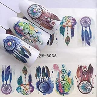 12 sets Purple owls dream catcher Spirit animal print NAIL WRAPS bohemian flower child hippie tie dye water color owl eyes tattoo nail decals paisley black henna nature skynail vinyls French nail tips