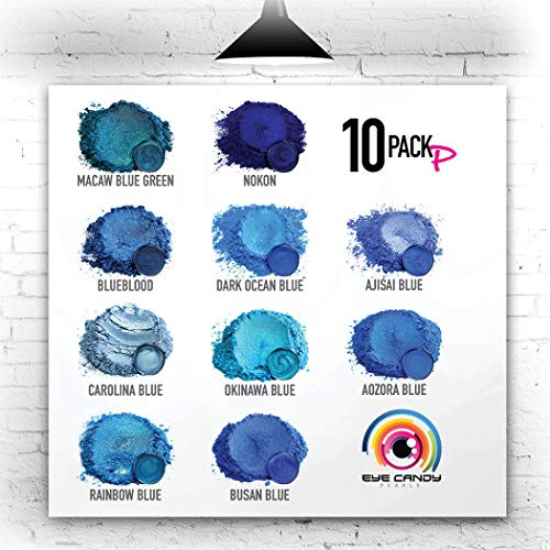 Eye Candy Mica Powder - Blues Pigment Powder 10-Pack Set P - Colorant for Epoxy - Resin - Woodworking - Soap Molds - Candle Making - Slime - Bath Bombs - Nail Polish - Cosmetic Grade - Non-Toxic