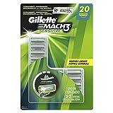 Carga para Aparelho de Barbear Gillette Mach3 Sensitive - 20 unidades