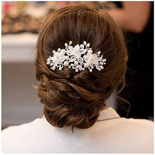 SWEETV Hochzeit Haarkämme Haarnadeln Elfenbein Perlen Klipp, Brauthaar Stück Damen Haarschmuck für Bräute