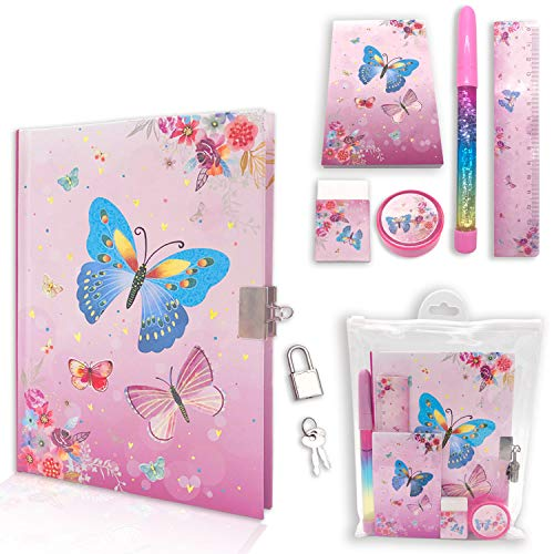 Diario para niñas con cerradura, juego de diario para niñas incluye cuaderno de 7.1 x 5.3 pulgadas, bloc de notas con purpurina, regla, sacapuntas, borrador en un kit de...