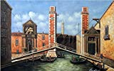 100% Hand Painted Canvas Oil Painting for Wall Art Decor, Venice Italy Canal Boats Gondolas Old 1700's Oil Painting Reproduction/ Replica