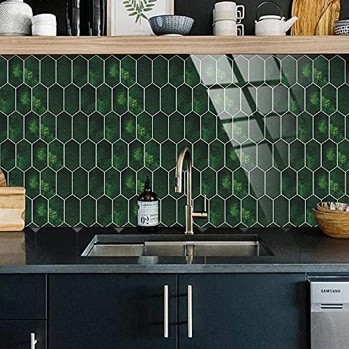 BBNBY Azulejos Adhesivos Verde Oscuro Elegante Pegar en Azulejos Azulejos Autoadhesivos de PVC Azulejos de Pared Resistentes al Calor Azulejos de Piso de Cocina Adhesivos para Azulejos de Baño Azu
