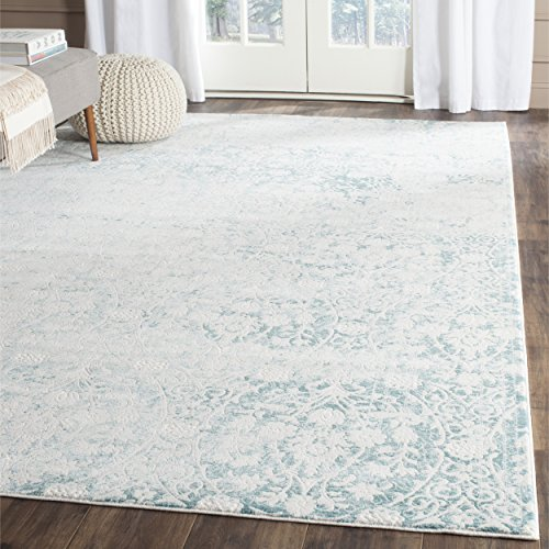 Safavieh Passion Collection PAS403B Vintage Medallion Watercolor Turquoise and Ivory Distressed Area Rug (6'7' x 9'2')