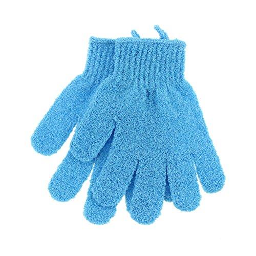 FRCOLOR 1 paire de gants de douche exfoliants en nylon doux pour homme, femme, enfant (bleu).