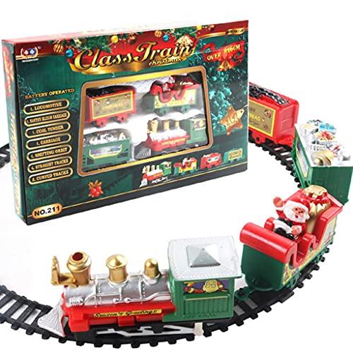 ZHIRCEKE Conjunto de Tren eléctrico de Navidad, Tren de Papá Noel con...