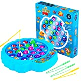 Fishing Game Play Set - 21 Fish, 4 Poles, & Rotating Board w/ On-Off Music - Family Children Backyard Colorful Toy Games for Kids and Toddlers Age 3 4 5 6 7 and Up - Blue
