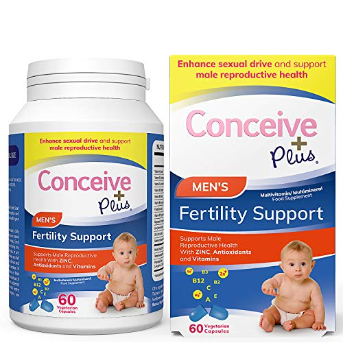 Conceive Plus Men's Fertility Vitamins – Boost Testosterone, Healthy Sperm Production – Zinc, Folate, Maca Root, Selenium Pills – 60 Vegetarian Soft Capsules