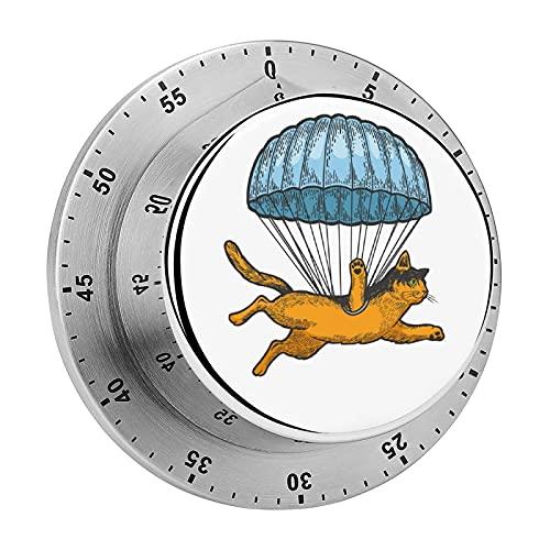 Mosca de gato con paracaídas grabado cocina, temporizador de horno, sin batería, parte trasera magnética, exquisito temporizador de precisión de acero inoxidable