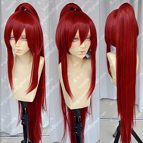 39 `` 100 cm de largo vino tinto Erza Scarlet pelo de cola de caballo resistente al calor Anime Fairy Tail Cosplay disfraz peluca + gorro de peluca gratis