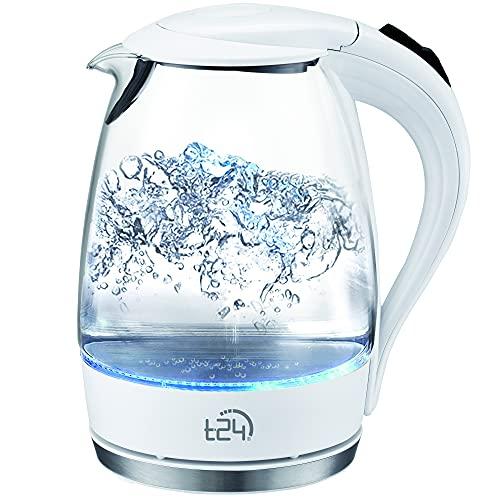 T24 LED Glas Wasserkocher 1,7 Liter mit LED-Beleuchtung, Trockenlaufschutz, BPA frei, 2200W | TÜV Rheinland GS Zertifiziert… (Weiß)