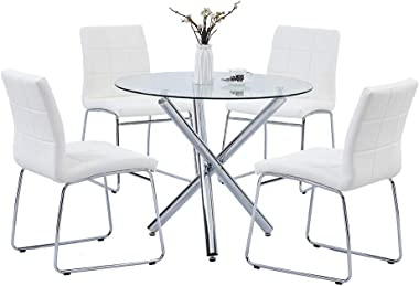 SICOTAS 5 Pieces Round Dining Table Set, Modern Kitchen Table and Chairs for 4 Person,Dining Room Table Set with Clear Temper