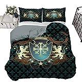 UNOSEKS LANZON - Juego de funda de edredón con diseño heráldico de la Edad Media con escudo de armas, diseño de leones y remolinos, color verde azulado y negro