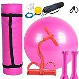 ZRWZZ Yoga-Übung Ball Set Pilates Gymnastikball Yoga Matten Hantel Rally Ausrüstung Mit Luftpumpe...