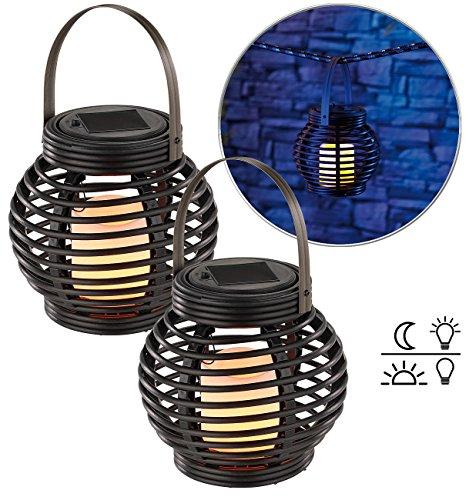 Lunartec Gartenlicht: Solar LED Rattanleuchte zum hängen oder Stellen 2er-Set (Solar-LED-Dekoleuchten)