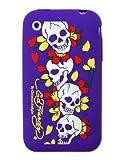 Ed Hardy Silikon-Schutzhülle für iPhone 3G, Motiv Totenköpfe, Violett